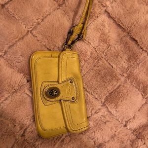 Handbags - Yellow mini coach wristlet
